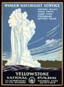 Vintage Yellowstone National Park USA Travel Poster.